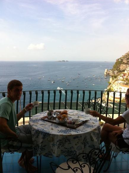 Positano, Italy with my brother and mom